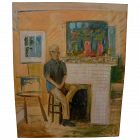 American contemporary Hockneyesque painting of a seated man in an interior