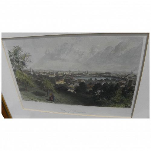 "ASA COOLIDGE WARREN (1819-1904) hand colored engraving ""City of Providence"" 1872"