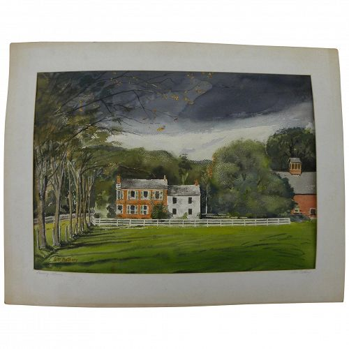 Vintage 1950's signed American watercolor landscape of an eastern estate property