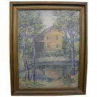 Pennsylvania 1924 exhibited impressionist painting of a mill by artist IRENA FRANKEBERGER