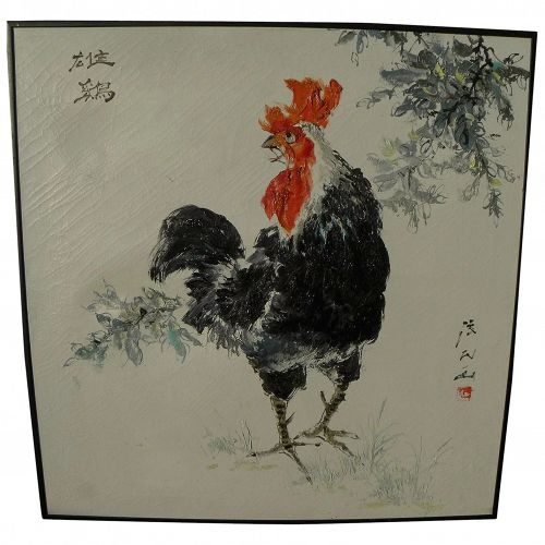 Contemporary Chinese art impressionist oil painting of a rooster