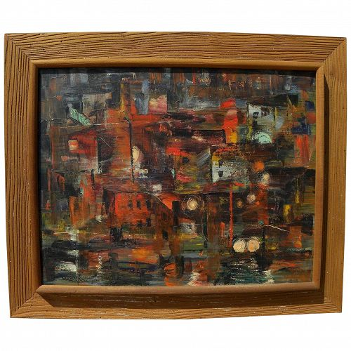 Modern Mid Century semi-abstract painting signed and dated 1952