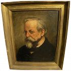 Antique portrait painting of a man signed with initials