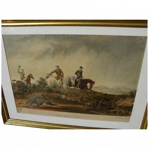 "HENRY GILBERT-JONES (1804-1888) early rare original watercolor painting ""Jackall Hunting in India"" by historical English-Australian artist"