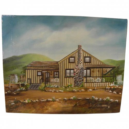 Interesting folk art 1980 painting of a house with poetic message from the artist