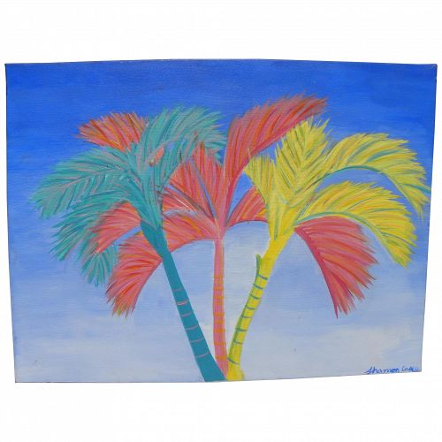 Colorful decorative painting of palms for beach house or tropical home
