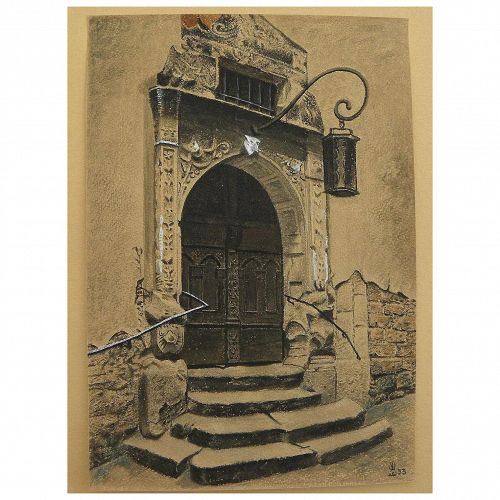 Watercolor drawing of old portal in Rothenburg, Germany dated 1953