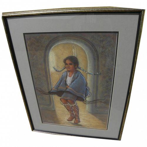 CARLOS FREY (1938-) pastel painting of Native American girl by Arizona artist