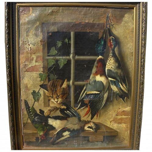 MICHELANGELO MEUCCI (1840-1909) Italian 19th century art nature morte hanging birds trompe l'oeil still life painting needs restoration