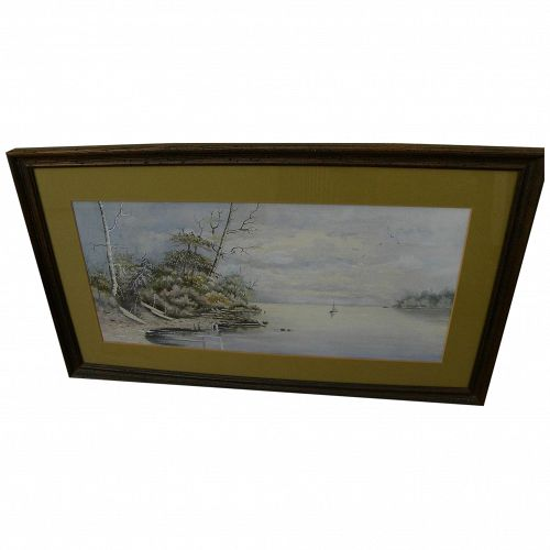 American 19th century coastal scene with small boats watercolor painting
