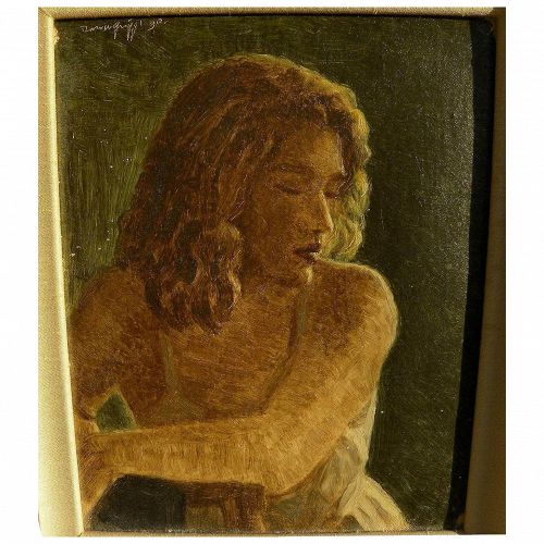 Signed beautifully executed 1990 painting of a young woman