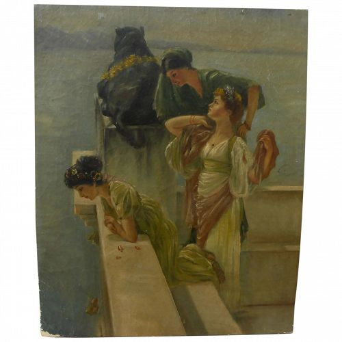Antique painting of Neo-Classical ladies at viewpoint after Lawrence Alma-Tadema (1836-1912)