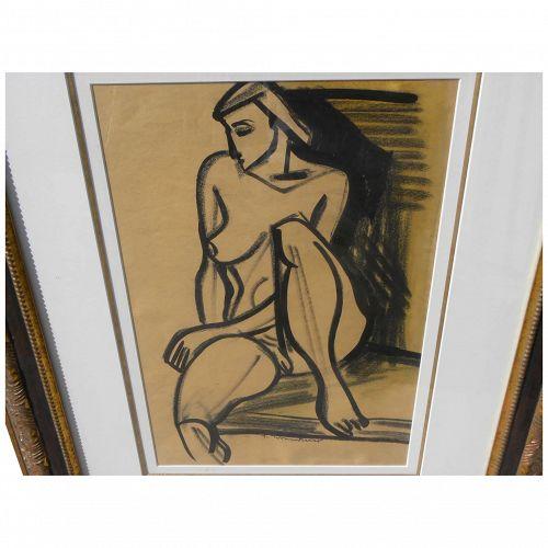 FRITZ BRANDTNER (1896-1969) Canadian art dramatic mixed media drawing seated female nude