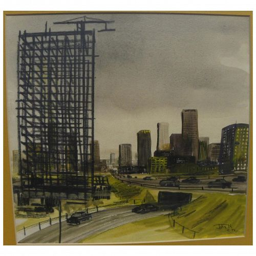 Retro vintage signed 1974 original watercolor of downtown Los Angeles freeways and skyscrapers