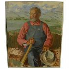 Circa 1950 American Regionalism painting likely by noted western American artist BROOKS PETTUS (1918-2003)