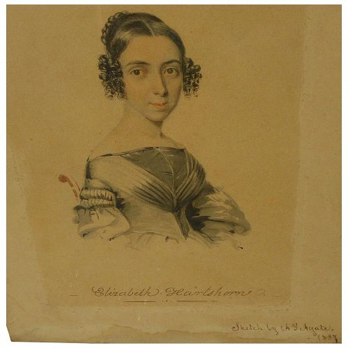 ALFRED THOMAS AGATE (1812-1846) small portrait drawing of a young woman by well listed American artist, dated 1837