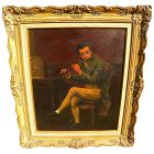Antique American 19th century painting of seated man playing a flute