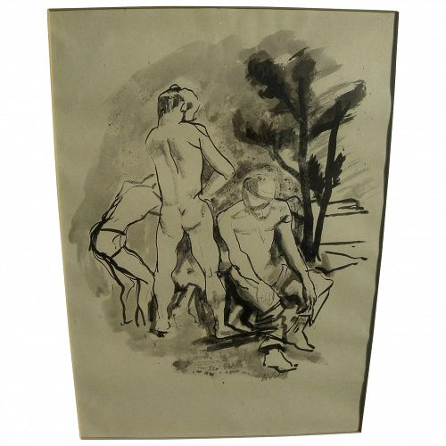 JOHN EDWARD HELIKER (1909-2000) signed ink and watercolor drawing by important American realist painter
