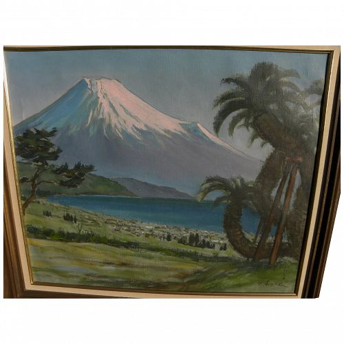 Japanese art painting of Mount Fuji signed T. Arashi