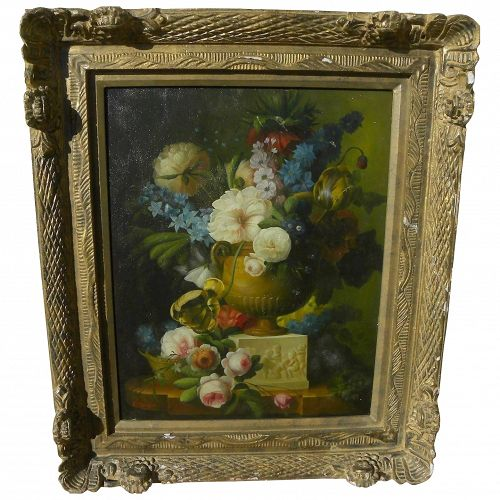RICARD SANGER 20th century finely detailed flower still life painting in early Dutch style