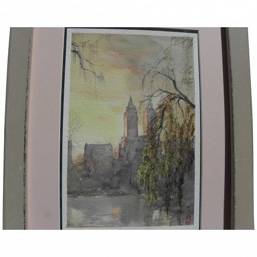 New York Central Park view 2008 signed beautiful watercolor