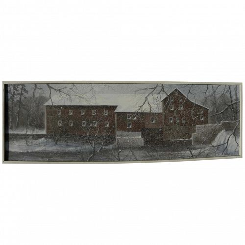 Painting of New England mill in winter by contemporary exhibited artist GERALD ROBILLARD