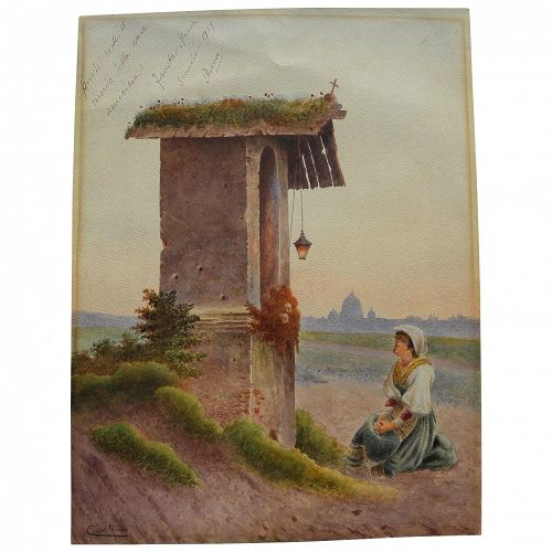 Italian 19th century watercolor painting of shrine near Rome signed CONTI
