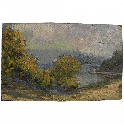 Vintage impressionist oil on panel landscape painting