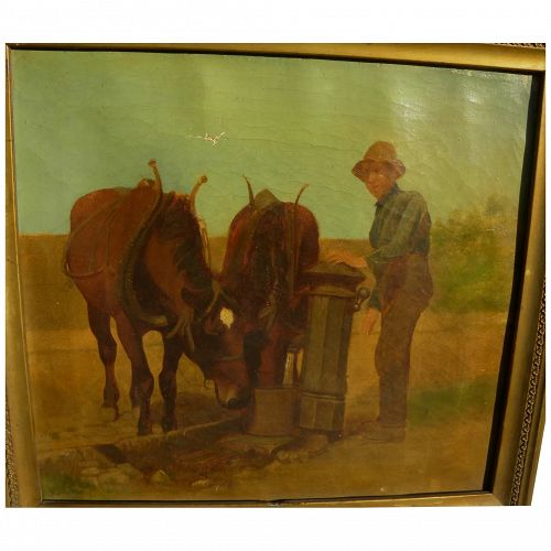 American 19th century art pastoral signed painting probably by SAMUEL S. CARR (1837-1908)