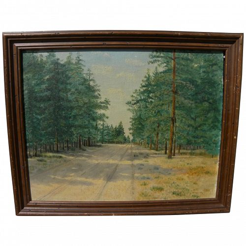 Vintage Texas art 1950 oil painting of piney woods signed Addie Sylvester