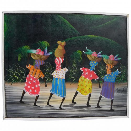 Haitian Art colorful naive style signed painting of figures in a country landscape