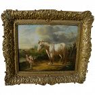 Nineteenth century Dutch landscape painting with animals possibly by ANTON MAUVE (1838-1888)
