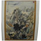 Chinese signed large 1980 panel watercolor painting of classical landscape