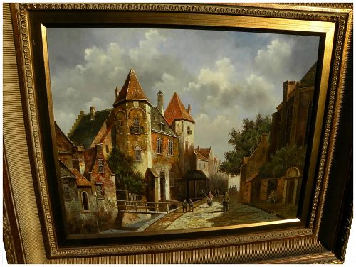 Dutch contemporary city scene painting in 19th century style signed SHONE