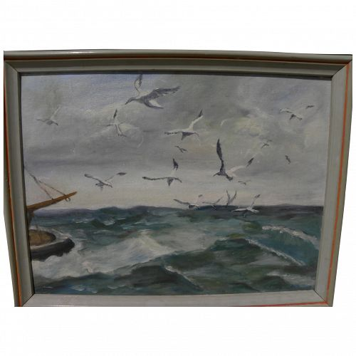 Signed American seascape painting with gulls 1951