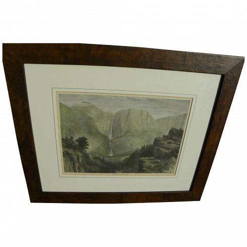 "Wood engraving vintage print ""The Yosemite Valley, California"" in style of Harper's Weekly"