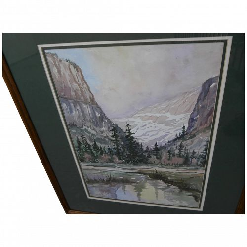 Yosemite Valley California contemporary watercolor painting signed