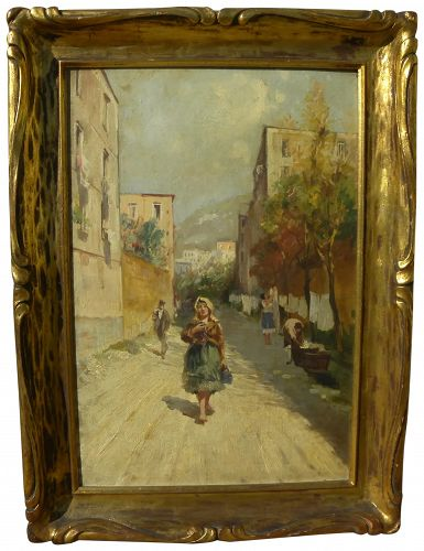 LAZZARO PASINI (1861-1949) vintage oil painting of sunny southern Italian street scene