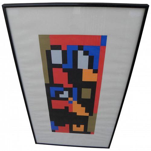 IAN TYSON (1933-) English modern art signed 1968 silkscreen color geometric print