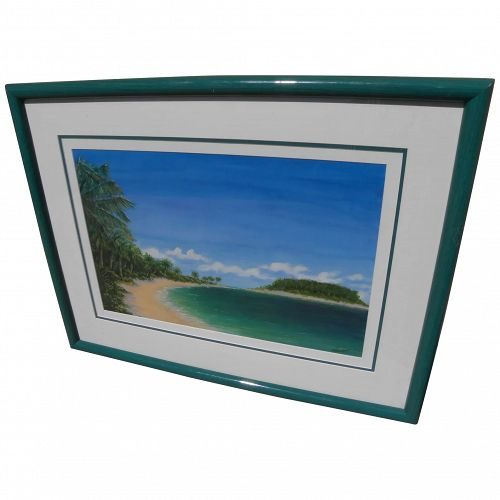 Tropical beach scene painting by contemporary San Diego artist