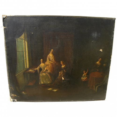 Circa 1835 English or Northern European painting elegant ladies in an interior