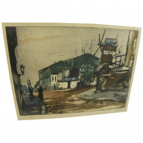 Vintage color etching of Paris Montmartre signed B. Vilard