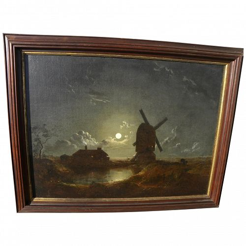 Early 19th century Dutch painting windmill landscape by moonlight