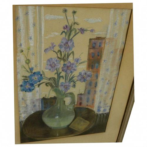 American circa 1940's pastel drawing of window ledge still life possibly signed