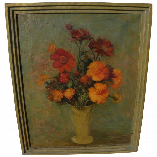 "GEORGIA P. FOSTER (1881-1965) vintage American still life painting ""Marigolds"""