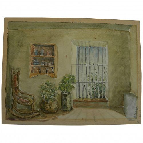 Vintage watercolor painting of Southwestern style interior