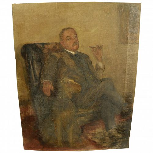 Circa 1920 painting of Sir Arthur Conan Doyle in an interior with his dog Paddy