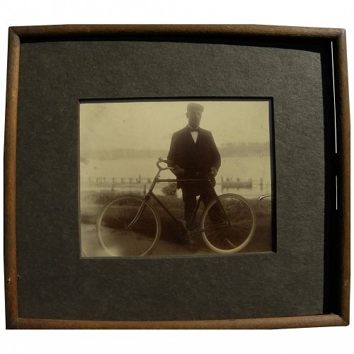Vintage original photograph of 1890's bicyclist
