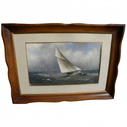 Signed 1897 east coast style fine marine pastel drawing racing sail boats at sea