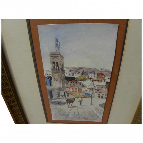 Greek watercolor painting of picturesque town scene signed